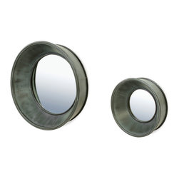 Bassett Mirror - Bassett Mirror Porthole Wall Mirror, Set of 2 - Style your industrial decor with this set of Porthole Wall Mirrors. Made of galvanized zinc with a protruding lip frame, these mirrors have a stark and uncomplicated look. Hang them as individual pieces or layer them for a gallery-style effect.