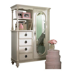 Lea Industries - Lea Emma's Treasures Mirror Door Chest in Vintage White - Inviting, casual and comfortable easily describes Emma's Treasures from Lea Furniture. Traditional styling mixed with a cozy time-worn appearance creates a collection of youth furniture sure to please any age girl. The distressed vintage white color finish, antiqued pewter-color hardware, the use of cane and crystal-cut mirrors all help create the shabby chic appeal of this group. Special features include vintage patterned drawer liners and hidden compartments on select pieces. Unique pieces include a vanity with bench, a mirrored door chest and a desk that can double as a larger vanity. Take a look at Emma's Treasures and create a room your Child will treasure for years to come. And, as always, Emma's Treasures comes with the quality you expect from Lea Furniture. Safety is one of the key elements Parents look for when buying products for their Children. As a supplier of Children's furnishings, we are committed to ensuring our products meet or exceed the safety requirements defined by the Consumer Product Safety Commission and the ASTM. design and function combined with safety features makes the Emma's Treasures collection an ideal choice for any Child's room.