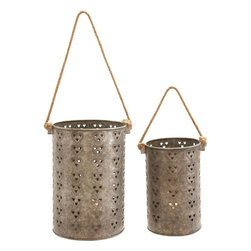 Benzara - Metal Galvanized Lantern with Intricate Design - Set of 2 - Stylish and attractive, this intricately detailed, this Metal Galvanized Lantern offers versatile functionality. Crafted with fine attention to details, this metal lantern set can be easily incorporated in different decor styles. With its simple cylindrical shape, this lantern set perfectly combines simplicity with finesse. You can present this lantern as a gift to your near and dear ones and win their appreciation and gratitude, This lantern flaunts a charming rust finish and is decorated with horizontal rows of cut-out heart motifs that lend a contemporary touch to the design. Equipped with a sturdy rope and a hollow center, this lantern set is perfect for placing small candles or tealights. High grade, galvanized metal used in the construction of this lantern set imparts superior durability to the design and ensures lasting functionality.