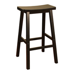American Heritage - American Heritage Wood Saddle Stool in Black - 26 Inch - The wood saddle counter height or bar stool is a perfect choice for any room in the house.  The heavy duty construction and scooped seat will provide many years of comfortable service.