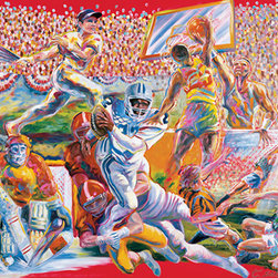 RTZ Company, Inc. - Team Sports, 48x60 inches, Original Oil Painting on Wood Panel - Sports for all seasons. The five major team sports are represented: basketball, baseball, football, soccer and hockey. Painted in a splashy, energetic style, sports fans of all ages will appreciate the action depicted in this original artwork by Trisha Selgrath