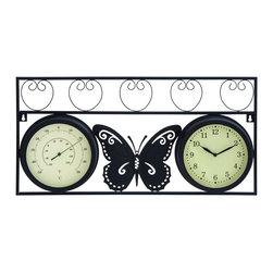 Benzara - Sophisticated Metal Clock Thermometer with Stylish Look - A clock is a must have in any home and this attractive Metal Clock Thermometer can add an elegant look to your wall. Crafted with fine detailing, this clock flaunts a beautiful butterfly in the middle and is finished in black, giving it an elegant appearance. Combining functionality and innovation, this metal clock has a smart and nifty look that can complement all kinds of color schemes. It is a perfect mix of utility and fashion, ensuring that it not only covers up empty space but also adds a dazzling allure to your interiors. Designed to add a focal point to interior settings, this eye catching metal clock thermometer is crafted with distinctive creativity and artistry. The sublime elegance is perfect for remodeling your office or home settings. It comes with a dimension of 13 in.  H x 25 in.  W x 2 in.  D.