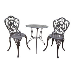 Oakland Living - Oakland Living Hummingbird Cast Aluminum 3-Piece Bistro Set-Antique Pewter - Oakland Living - Patio Bistro Sets - 3205AP - About this product: