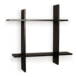 "Danya B - Asymmetric Laminate Square Floating Wall Shelf , Black - Decorative wall shelf shows 4 asymmetric sides to a square which intersect and connect with each other. With its contemporary finish, it is the ideal accent for any living space. Made of laminated MDF, it attaches to the wall with two keyhole perforations in the back, which secure to nails or screws showing no visible hardware.  Color: Black or White.  Minor assembly required.  Measures 24 x 5 x 24"".  Weight capacity: 16lbs.  Made in China."