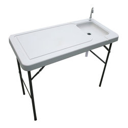 Buffalo Tools - Sportsman Series Folding Fish Table With Faucet - Folding Fish Table With Faucet by Sportsman Series The Sportsman Series Folding Fish Table with Faucet makes cleaning fish and wild game easier. This portable, folding table weighs just over 20 pounds and can easily be transported from your vehicle to your campsite. The plastic table top with separate prep and sink areas is easy to keep clean. A chrome plated faucet can be attached to a garden hose for a steady supply of fresh clean water. The drain in the sink is connected to a hose that can be placed inside a bucket, making cleanup easy. Attach a water hose to the faucet, place a bucket underneath the drain and insert the drain hose, then cut and clean fish or game.  Portable table for cleaning fish and game on-site Attach water hose to faucet, place bucket underneath, then cut and clean fish or game Chrome plated faucet with garden hose hook up (bucket not included) Durable plastic top Table measure 46 in. L x 24 in. W x 33 in. H