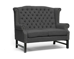 """Baxton Studio - Baxton Studio Sussex Dark Gray Linen Loveseat - A refined elegance with a hint of regal inspiration puts the Sussex Designer Loveseat in a class of its own. Taking basic dark charcoal gray linen rather than a rich, brightly-colored brocade, the modern loveseat's stately form is a juxtaposition against the fabric. Button tufting accents the back while silver nail head trim lines the scalloped armrests and backrest. The loveseat is built on a birch wood frame with black legs and foam cushioning. The Sussex Loveseat is made in China and should be spot cleaned. A matching sofa and club chair in dark gray are also offered as well as all three pieces in beige linen (each sold separately).  Minor assembly is required.Dimensions: 42.5 inches high x 52.5 inches wide x 31.25 inches deep, seat'sion:40""""W x 22.5""""D x 19.5""""H,Arm height: 25 inches"""
