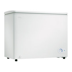 Danby - 8.7 Cu.ft. Chest Freezer, 1 Basket, Up Front Temperature Control - The Danby DCFM246WDD Energy Star 8.7 Cu.Ft. Chest Freezer, in white, features an easily accessible front mount thermostat for temperature control. The freezer has a front mount drain for quick and easy defrost maintenance. The aluminum interior is rust resistant and easy to clean. It also includes a storage basket for frequently used items. Plus, the rear castors and adjustable front feet allow for easy positioning.
