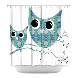 DiaNoche Designs - Shower Curtain Artistic - Owl Argyle Teal - DiaNoche Designs works with artists from around the world to bring unique, artistic products to decorate all aspects of your home.  Our designer Shower Curtains will be the talk of every guest to visit your bathroom!  Our Shower Curtains have Sewn reinforced holes for curtain rings, Shower Curtain Rings Not Included.  Dye Sublimation printing adheres the ink to the material for long life and durability. Machine Wash upon arrival for maximum softness on cold and dry low.  Printed in USA.