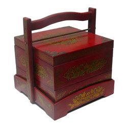 Golden Lotus - Chinese Red Phoenix Dragon Square Wedding Basket Box - This wedding basket is modified from the traditional Chinese wedding basket. It is made of cardboard paper and covered with artificial leather.