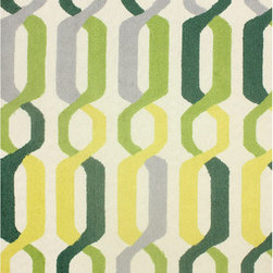 Nuloom - nuLOOM Hand-hooked Indoor/ Outdoor Links Yellow Rug (5' x 8') - Designed for both indoors and outdoors, this beautiful modern pattern is perfect for the kitchen or any area where easy cleaning is important. This outdoor rug can be washed with a garden hose.