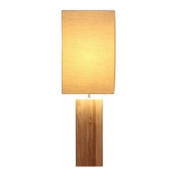 Natural Design House - Teak Table Lamp - Sophisticated and stylish, this teak based lamp combines with a wide rectangular natural linen shade for a contemporary feel.