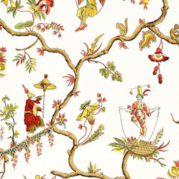 Schumacher - Jester Caprice Wallpaper, Cream - Priced by the double roll