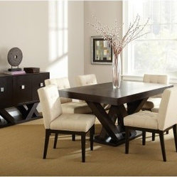 Steve Silver Tiffany Dining Chairs - Espresso / Beige - Set of 2