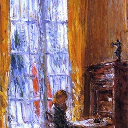 """Art MegaMart - Frederick Childe Hassam At the Writing Desk - 18"""" x 27"""" Premium Canvas Print - 18"""" x 27"""" Frederick Childe Hassam At the Writing Desk premium canvas print reproduced to meet museum quality standards. Our museum quality canvas prints are produced using high-precision print technology for a more accurate reproduction printed on high quality canvas with fade-resistant, archival inks. Our progressive business model allows us to offer works of art to you at the best wholesale pricing, significantly less than art gallery prices, affordable to all. We present a comprehensive collection of exceptional canvas art reproductions by Frederick Childe Hassam."""