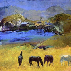 """George Wesley Bellows Horses, Carmel - 16"""" x 20"""" Premium Archival Print - 16"""" x 20"""" George Wesley Bellows Horses, Carmel premium archival print reproduced to meet museum quality standards. Our museum quality archival prints are produced using high-precision print technology for a more accurate reproduction printed on high quality, heavyweight matte presentation paper with fade-resistant, archival inks. Our progressive business model allows us to offer works of art to you at the best wholesale pricing, significantly less than art gallery prices, affordable to all. This line of artwork is produced with extra white border space (if you choose to have it framed, for your framer to work with to frame properly or utilize a larger mat and/or frame).  We present a comprehensive collection of exceptional art reproductions byGeorge Wesley Bellows."""