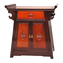 """Oriental Furniture - Rosewood Altar Cabinet - Two-tone - An elegant oriental accent cabinet, designed with a distinctive tapered cabinet body that expands into a beautiful """"altar"""" or """"winged"""" table top. With a lovely carved """"Shou"""" drawer pull, and beautifully carved doors with fine Shou medallions and lovely lacquered brass handles. Shou medallions were thought to attract life supporting energy to the home or enterprise; in English they're called """"Long Life"""" symbols. An attractive cabinet, one that catches the eye and elicit comments and compliments. Its sturdy construction and quality materials mean it will be in the family for generations to come."""