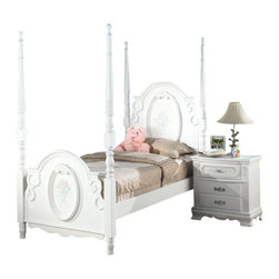 """Acme - 5 PC Flora Collection White Finish Wood Floral Pattern Design Twin Bedroom Set - 5-Piece Flora collection white finish wood floral pattern design twin bedroom set with decorative accents. This set includes the Twin bed with decorative handles, nightstand, dresser, mirror and chest. Twin bed measures 78"""" H to the top of the headboard. Nightstand measures 26"""" x 17"""" x 27"""" H. Dresser measures 52"""" x 19"""" x 39"""" H. Mirror measures 47"""" x 38"""". Chest measures 36"""" x 18"""" x 52"""" H. Also available in full size, and additional pieces also available separately. Some assembly required."""