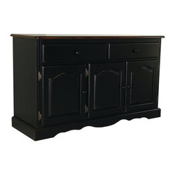 Sunset Trading - Sunset Trading 3 Door, 2 Drawer Buffet in Antique Style Black - Invite a touch of country warmth and beauty into your home with this traditional American classic piece from the Sunset Trading - Sunset Selections Collection. Versatile enough to complement your dining area den office or even your bedroom as a TV stand this impressive piece offers abundant storage while providing distinct character to your home. Features include distressed antique black finish with cherry rub through on base with contrasting finished cherry top with antique black distressing three raised panel cathedral arch doors that open to one large shelf two large drawers with Euro glides for easy sliding and scalloped apron trim at bottom of base. For enhanced elegance pair this piece with the matching glass door and interior mirrored back hutch (sold separately) or match with any Sunset Trading Sunset Selections table chair stool cart and kitchen island Prominently display your china books or family collectibles bringing warmth and classic beauty to your home. A timeless piece for generations to come!