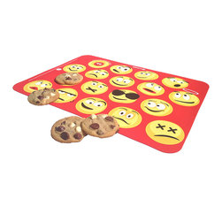 Baker's 13 - Red Emoticon Ultimate Baking Mat - This charming, reusable mat makes cookies, rolls and fish sticks roll right off without sticking. Boasting a bold design and crafted from durable silicone, it features useful targets to evenly space out food and fits most standard size baking sheets.   15'' W x 11'' H Silicone BPA-free Dishwasher-safe Oven-safe up to 400°F Imported