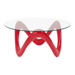 Eurostyle - Euro Style Chelsea Collection Coffee Table in High Gloss Red/Clear - Coffee Table in High Gloss Red/Clear in the Chelsea Collection by Eurostyle
