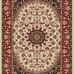 Tayse Rugs - Elegance Beige Red and Black Area Rug Sets Three Piece Set - - The detailed oriental medallion design of this area rug make a statement of elegance to any room. Soft polypropylene fibers make it soft, warm, and easy to clean. Rich hues of ivory, gold, red and black. Vacuum and spot clean.  - Square Footage: 47  - Pattern: Oriental  - Pile Height: 0.39-Inch  -3 piece rug collection: 5? x 7?, 20 x 60, and 20 x 32 Tayse Rugs - 5392  Ivory  3 Pc. Set