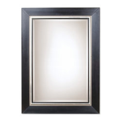 Uttermost - Whitmore Matte Black Square Mirror - This solid wood frame features a smooth, matte black finish.  The frame is accented by a silver leaf bead and rim.  A black fillet highlights the edge of the beveled mirror.