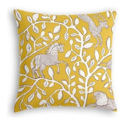 Yellow Modern Animal Motif Custom Throw Pillow - The every-style accent pillow: this Simple Throw Pillow works in any space.  Perfectly cut to be extra fluffy, you'll not only love admiring it from afar but snuggling up to it too! We love it in this sketched African animal and vine motif in modern mustard yellow. Be wild and wonderful!