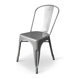 Inmod - Bastille Cafe Stacking Chair (Set of 2), Silver - The Bastille Cafe Stacking Chair evokes Parisian street scenes of people enjoying a drink or a meal at a sidewalk cafe, watching passersby and relaxing.