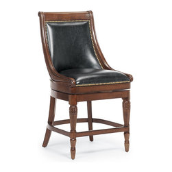 """Frontgate - Kent Swivel Counter Height Bar Stool (24""""H seat) - Handcrafted of solid hardwood. Generously scaled with substantial inside seat depth. Premium top-grain leather or fabric upholstery. Hand-applied nailhead trim. Lifetime 180˚ memory return swivel. Our Kent Bar Stool makes a grand statement with an element of restraint. Inspired by Neoclassical design, Kent is a stool of exceptional quality and style. The hand crafted, solid hardwood frame expertly captures the hallmarks of prosperity originally found on plantation rice carved bed posts. Forelegs embellished with carved leaves and gentle reeding, graceful sloping arms all adorned with historical symbols representing family pride and signifying wealth.  .  .  .  .  . Superior stability and strength ."""