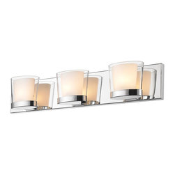 Golden Lighting - 3-Light Bath Vanity in Metallic Chrome Finish - Includes three 40W G9 halogen bulb. Traditional style. Oval and contemporary double-layer glass shade. Cased opal glass diffuser inside clear glass. Large rectangular back plate allows for easy remodeling installations. Provides a well diffused light over a vanity or mirror. Made from iron and glass. Fixture width: 23.75 in.. Fixture height: 4.75 in.. Fixture extension: 4.25 in.. Wire length: 8 in.. Shade: 5.75 in. Dia.. x 4.25 in. H. Back plate: 23.75 in. W x 0.75 in. D x 4.75 in. H