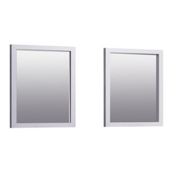 """Macral - 24"""" Madrid Mirror (Set of 2), White - Contemporary bathroom mirror 24"""" set of two mirrors, in WHITE matte. The price ONLY includes the mirror, all the rest items such as the Madrid vanity, the faucet, wall towel holder, wall soap dispenser,...are NOT INCLUDED, but can be sold separately. These 2 mirrors were ideally manufactured to coordinate with our Madrid bathroom vanity 60"""" - available to purchase online, also in white or black. Set of 2 mirrors Wall mounted. Fixtures included. Designed and manufactured in Spain by Macral. Designed for a lifetime of lasting beauty."""