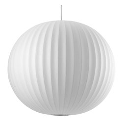 Modernica - George Nelson Bubble Pendant Lamp, Ball, Large | Modernica - Taking its cues from midcentury design, this handcrafted ceiling pendant features a white ridged balloon shade, six feet of white cord and a brushed-nickel ceiling plate. Place one over your breakfast or dining table or near a favorite reading chair for a little earthy, organic enlightenment.