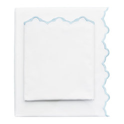 Light Blue Embroidered Sheet Set, Queen