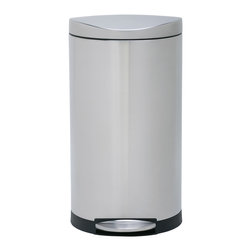 simplehuman - simplehuman Semi-round Step Trash Can - Add functionality to your home with this semi-round step trash can. This receptacle features a space-saving shape and a nonskid base, making it perfect for any room that is highly trafficked. The foot-pedal operation ensures your hands remain clean.
