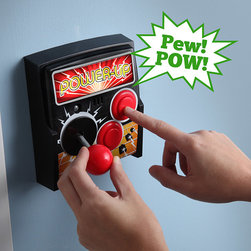"""Power-Up Arcade Light Switch Plate - No way! This is a joystick turned light switch. My '80s self says, """"Yes, please!"""""""