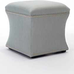 Martinica Room - Love the Justin ottoman upholstered in the fabric Slubby Linen in Ocean and accented with shiny silver nailheads.