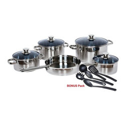 Gourmet Chef - Gourmet Chef Stainless Steel 14-Piece Cookware Set - 14 Piece cookware set includes: -1.5 quarts covered sauce pot. -2.5 quarts covered sauce pot. -3.5 quarts covered sauce pot. -6 quarts covered stock pot. -10 inch fry pan. -5 pieces nylon cooking utensils. Features: -14 Piece cookware set.-Impact bonded process for capsulation.-Riveted stainless steel handles.-Straight edge with mirror polished inside and brushed polished outside.-Easy to clean.-Gourmet Chef collection.-Dishwasher Safe.-Distressed: No.Dimensions: -0.024'' Wall and 0.118'' aluminum encapsulated bases for fast and even heat distribution.-Overall Product Weight: 13 lbs.Warranty: -Manufacturer provides 25 years warranty.