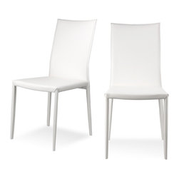 RED LIVING - Lucy White Dining Chair Set - The Lucy Dining Chair can be placed around any table thanks to its timelessness and comfort. This chair is upholstered in high quality bonded leather with a metal frame. Less is more with the Lucy Chair. Available in beige, brown, black or white.