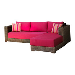 Wicker Paradise - Patio Wicker Chaise Sectional - South Beach - Wicker is built to last, which is why it makes perfect outdoor furniture. This well-made sectional can seat many and the brightly colored, 9-inch thick cushions offer a level of comfort that is usually only found indoors.