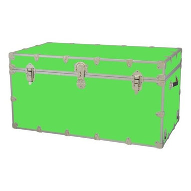 Rhino - Toy Trunk - Neon Green (Super Jumbo) - Choose Size: Super JumboWheels are not included. Includes two nickel plated steel universal wheel adapter plates. Wheel adapter plates mounted on side of the trunk. American craftsmanship. Several obscure ventilation holes to provide plenty of air should your child ever go into the trunk and have someone close it on them. Strong hand-crafted construction using both old world trunk making skills and advanced aviation rivet technology. Steel aircraft rivets are used to ensure durability. Heavy duty proprietary nickel plated steel latches and hardware. Heavy duty nickel plated steel lid hinges plus lid stays for keeping lid propped open. Tight fitting steel tongue and groove lid to base closure to keep out moisture, dirt, insects, odors etc.. Stylish lockable nickel plated steel trunk lock has loop for attaching padlock. Discrete ventilation holes. Special soft-close lid stay. Nylon cordura exterior laminate. Lifetime warranty. Made from 0.38 in. premium grade baltic birch hardwood plywood with nickel-plated steel hardware. Large: 32 in. W x 18 in. D x 14 in. H (29 lbs.). Extra large: 36 in. W x 18 in. D x 18 in. H (36 lbs.). Jumbo: 40 in. W x 22 in. D x 20 in. H (67 lbs.). Super jumbo: 44 in. W x 24 in. D x 22 in. H (69 lbs.)Safety First! A superior quality, heavy-duty toy trunk that¢s designed for a child¢s well-being, yet looks handsome in any room. Toy Trunk is constructed from the highest quality components. This treasure chest incorporates several safety features to insure that it¢s child friendly. Those include small ventilation holes should a child ever decide to climb in and take a nap, as well as specially designed, American made soft-close lid stays. The lid stays keep the lid from slamming shut. In fact, the lid will only close if you push it down. This will keep small hands protected. Also, the toy trunk will not lock on its own. Toy Trunk are conveniently sized and ruggedly built. They¢re strong enough to stand on! Best of all, these advanced design wheels do not add any extra height to the trunk. Even with the wheels on, the trunk is stackable.