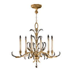 Fine Art Lamps - Beveled Arcs Gold Chandelier, 762640ST - Chandelier in a warm muted gold leaf finish featuring beveled crystal accents. Look for the distinctive crystals, registered trademarks of Fine Art Lamps (Reg. U.S. Pat & TM Off.)