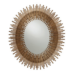 Kathy Kuo Home - Prescott Antiqued Gold Leaf Sunburst Oval Iron Mirror - Reminiscent of a lion's mane, this stunning oval mirror's intricate ironwork will capture your gaze as soon as you enter the room.  Just the right size to hang above a the vanity in your powder room for a gorgeously golden touch of luxury. Or, try hanging it lengthwise to add another dimension to your contemporary loft.