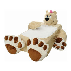 Teddy Bear Bed, Beige - Wow, what a comforting, cool bed! This teddy bear cover comes with soft arms and feet, and the whole thing zips up around a twin mattress set. It isn't specifically called a toddler bed, but its low profile, lack of hard metal pieces and soft teddy bear arms make it safe for young ones. Plus, when your child outgrows it, just unzip and reuse the mattress.