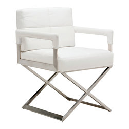 Nuevo Living - Jack Dinig Armchair in White by Nuevo - HGTA646 - The white Jack Dining Armchair features tufted naugahyde finish on CFS foam for the cushion.  The frame is a solid brushed stainless steel that is strong and durable.