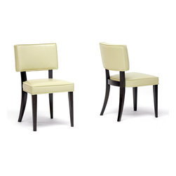Baxton Studio - Baxton Studio Thyra Cream Dining Chair Set of 2 - These ultra-chique dining chairs make a surprisingly bold statement despite their simplicity.  Each chair features a comfortably padded seating area and is finished with cream bonded leather upholstery.  The legs and frame are constructed with solid wood with a deep, rich wenge color finish.  Add these to an equally modern dining table to complete your eating space.  Assembly is required.