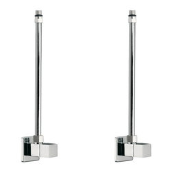 Remer - Two Square Angle Valves With Copper Piping Available In Polished Chrome - These two square angle valves (Remer 128S) come with two copper pipes (Remer 114M10) and will help complete your sink installation.
