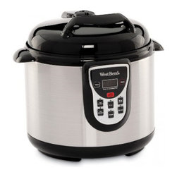 Focus Electrics - Electric 6 Qt. Stainless Steel Pressure Cooker - West Bend electric 6 Qt. Stainless Steel pressure cooker, 7 safety features, multifunctional, adjustable setting controls, cool touch locking lid with pressure release dial.
