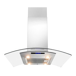 "AKDY - AKDY AK-ZD01IS-R Euro Stainless Steel Island Mount Range Hood, 30"" - The strength and durability of stainless steel meets the elegance of professional European design in this island mounted range hood from AKDY. This centerpiece includes an ultra quiet 870 CFM centrifugal blower, telescopic chimney that fits ceilings measuring between 8 and 9 feet, four-speed electronic touch sensitive controls with display, and a dishwasher friendly stainless steel baffle filter. With the delayed auto shut off, four 35w halogen lights, an optional ductless feature, and you'll discover an ease of use you'll quickly fall in love with. Highly stylish, professional functionality, and a cost you can afford. AKDY once again delivers on its promise of excellence."