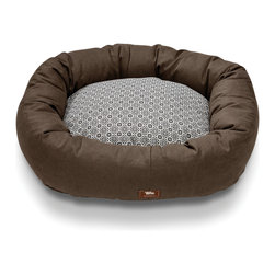 West Paw Design - Hemp Bumper Bed dog stuffed bed in Timber Brown color option; Small-2Xlarge, Med - Stylishly sophisticated and super snuggly West Paw Design's Hemp Bumper Bed adds beauty to any home. Each dog bed is filled with a thick denier 100% recycled IntelliLoft® polyfill , making the bed a heaven of cushions that will not bunch or flatten from extreme use.  Hemp fabric cover easily zips off for quick washing.  Entire dog bed (cover and filling) is machine washable for easy maintenance. Hand-sewn and made in the USA.