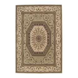 Nourison - Nourison Versailles Palace Oriental Scrolls Sage Rug - Fit for royalty, as the name suggests! This collection features stunningly elegant designs inspired by 18th Century French carpets and handmade with intriguing articulation from the highest quality wool. Features a dense, luxurious pile and hand-carved for added dimension with delicate accents that are a pleasure to both look at and touch.